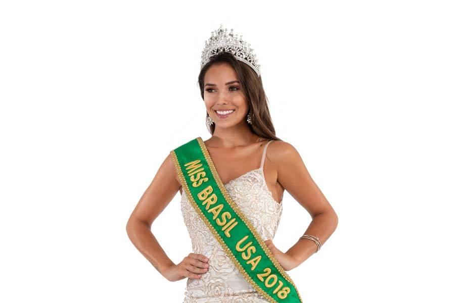 """Dentre as participantes que concorreram ao título de """"Miss Brasil USA"""", destaque à jovem mineira, de Belo Horizonte, Laura Dias, de 24 anos, eleita """"Miss Brasil USA 2018"""""""