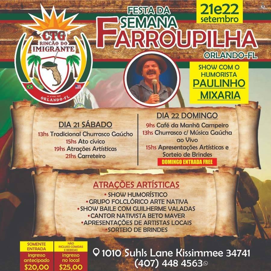 Festa da Semana Farroupilha tem dança, shows e churrasco