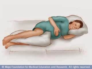 Posicionamento em decúbito lateral esquerdo, ideal para a Gestante e o futuro Bebê