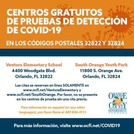 Teste gratuitos para Covid-19 em Orange County