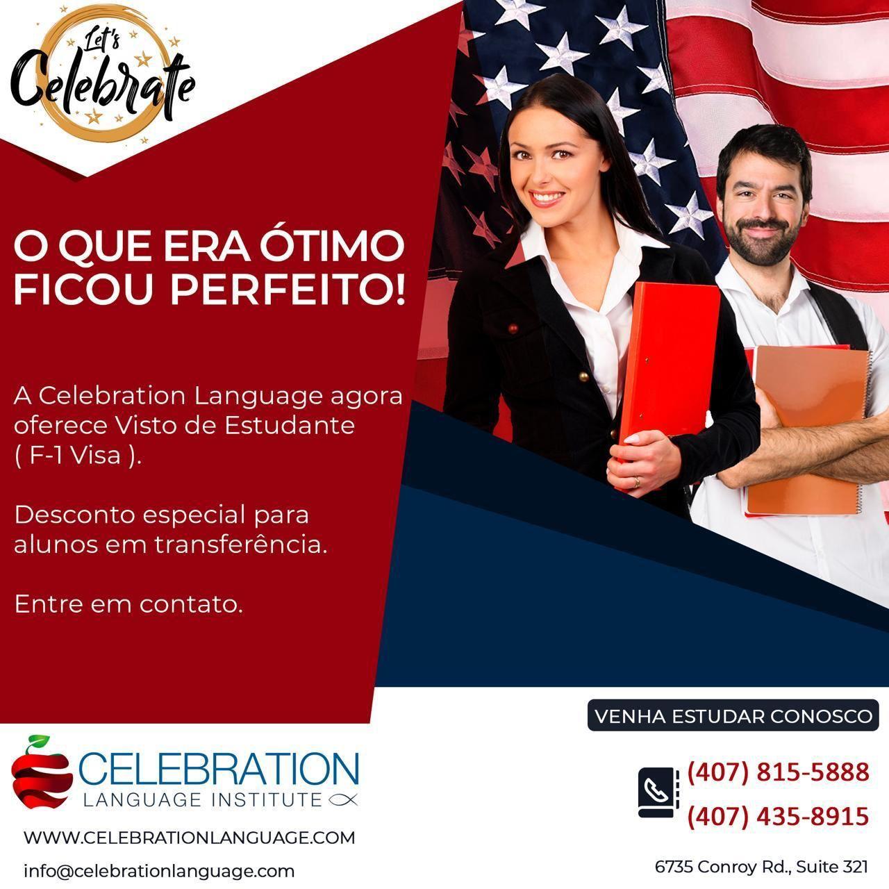 """""""Celebration Language Institute"""", licenciada pela Imigração paraconcessão do Visto de Estudante"""